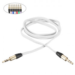1M 3.5mm Braided Gold AUX Male To Male Stereo Audio Cable For MP3 PC iPod Car Mobile