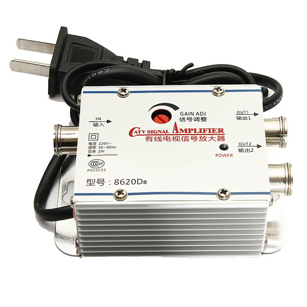 2 Way TV Videobandspelare Signalförstärkare Kabel Antenn Bredband AMP Förstärkare Mediaspelare