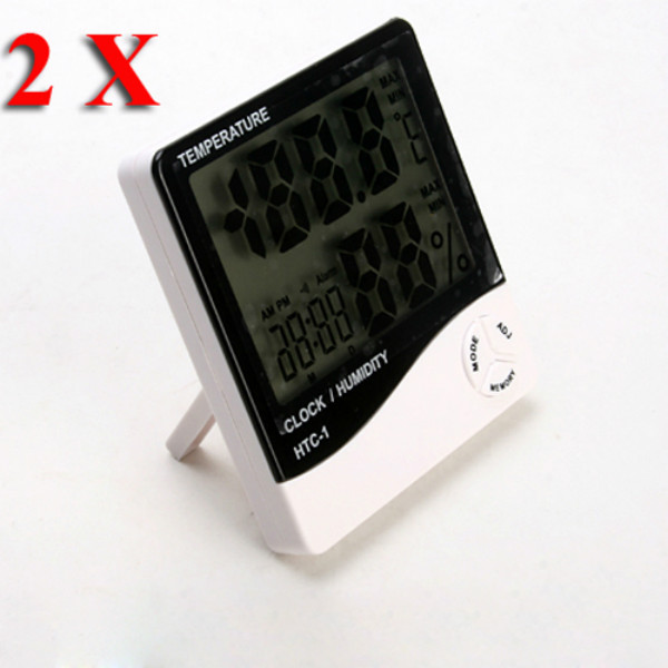 2X LCD Digital Temperature And Humidity Meter Hygrometer Clock Alarm Electronic Accessories & Gadgets