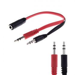 3.5mm AUX Audio Mic Splitter Kabel Øretelefon Headphone Adapter 1 Hun til 2 Male