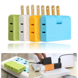 3in1 Outlet Power Converter Splitter Travel Rotate Charger Socket Wall Adapter US