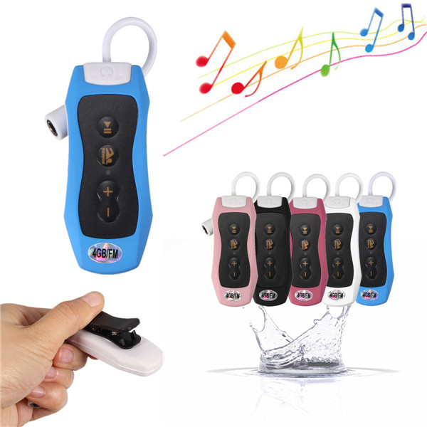 4GB Waterproof Clip MP3 Music Player FM Radio Underwater Sports Swimming Diving Media Players