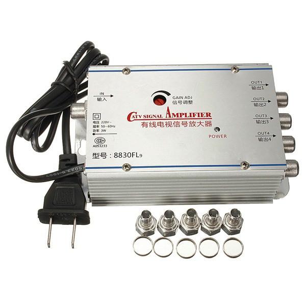 4 Way TV Video CATV Kabel-TV Antenn Signal Amplifier Booster Splitter Mediaspelare
