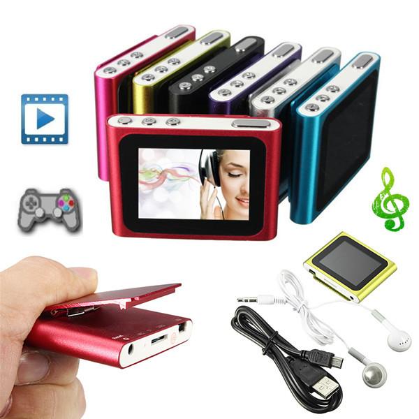 6th Gen 1.8 Inch LCD Clip FM Radio Video Mp3 Mp4 Player Support 4/8/16GB Micro SD/TF Media Players
