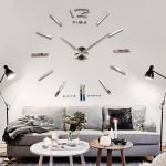 Big Stor DIY Frameless Vægur Kit 3D Spejl Dekoration Sølv Elektronik Tilbehør & Gadgets