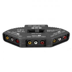 Black 3 Way Port Audio Video AV RCA Switch Selector Box Splitter & 3 RCA Cable