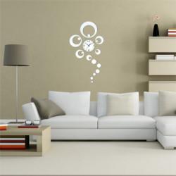 DIY 3D Hjem Dekorative Clock Ring Circle Spejl Vægur Silver