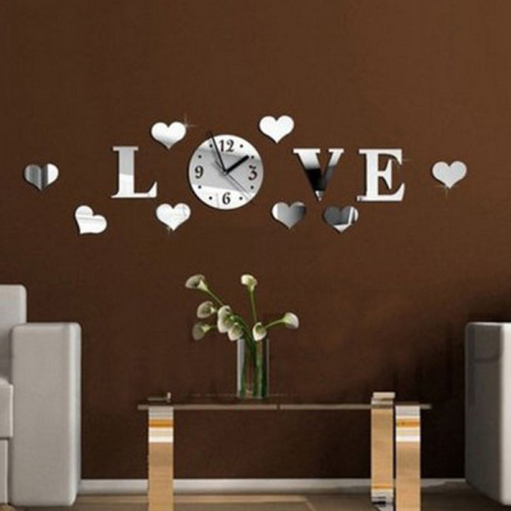 Buy DIY 12D Home Modern Love Wall Clock Decor Mirror Living Room ...