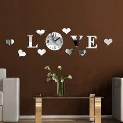 DIY 3D Hjem Modern Love Vægur Decor Spejl Stue