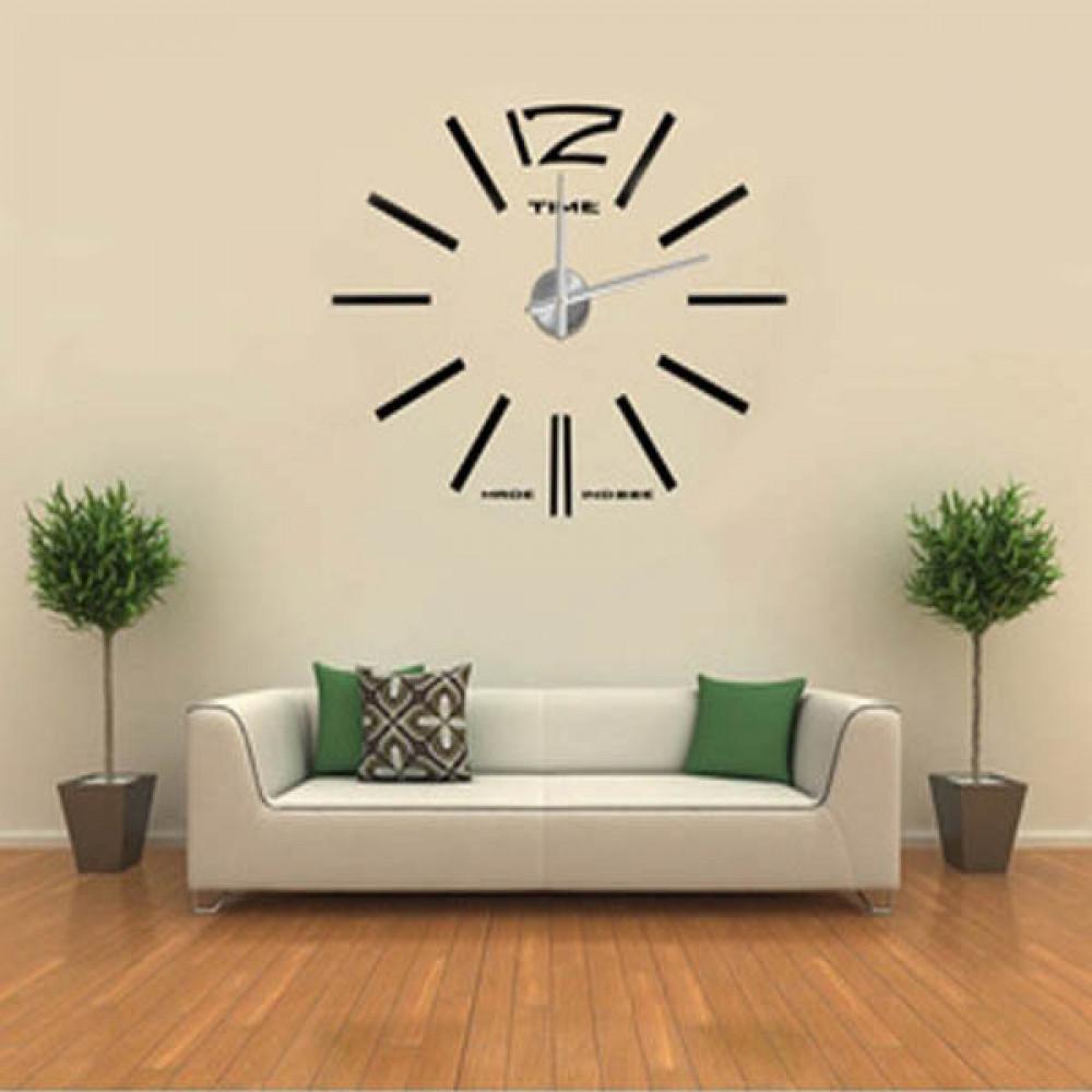 Buy DIY Frameless Wall Clock Kit 12D Mirror Decoration Black Big ...
