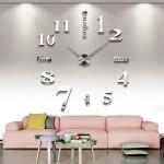 DIY Silber Große 3D Wanduhr Startseite Dekorative Spiegelflächen EVA Aufkleber Elektronischer Zubehör & Geräte