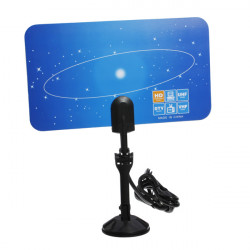 Digital Indoor HD TV HDTV DTV VHF UHF Flat High Gain Antenna EU Plug