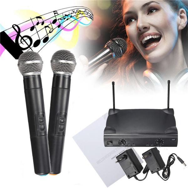 Dual Professional Trådløs Mikrofon System Trådløs Håndholdt Mic Kareoke KTV Medieafspillere