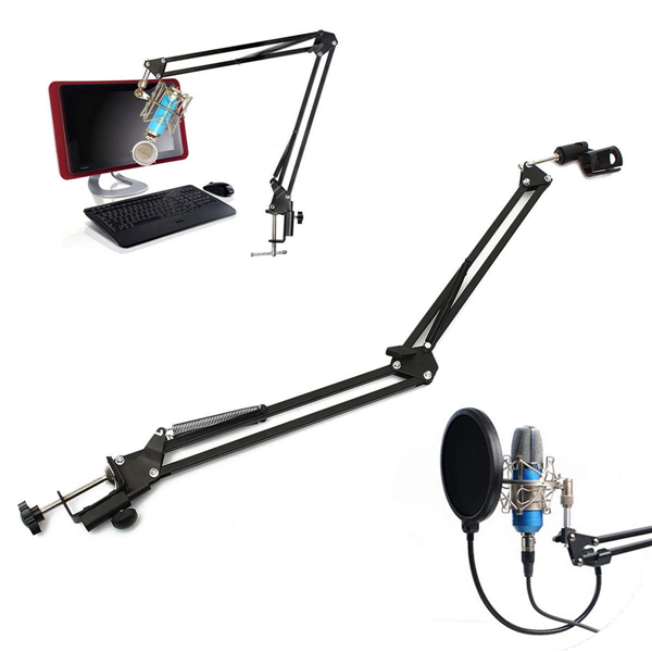 Microphone Suspension Boom Scissor Arm Stand Holder For Studio Broadcast Media Players