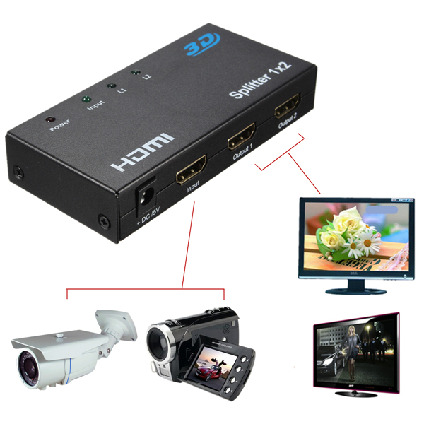 Mini 1080P 1 In 2 Ut HDMI 2 Port Splitter Video Composite TV Konverter Adapter Mediaspelare