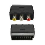 SCART Hane Plugg till 3 RCA Hona AV Audio Video Adapter Konverter för TV DVD Videobandspelare Mediaspelare