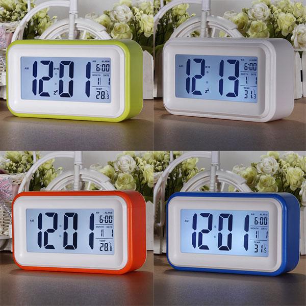 Touch Sensor LCD LED Digital Light Control Wecker blauer Hintergrundbeleuchtung Zeit Kalender Thermometer Elektronischer Zubehör & Geräte