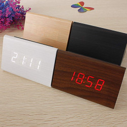 Dreieckige Holz LED Wecker Holz Digital Thermometer Uhr