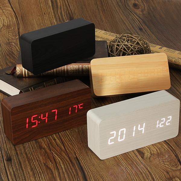 USB / AAA Holz digitale Wecker Temperatur Sound Control Elektronischer Zubehör & Geräte