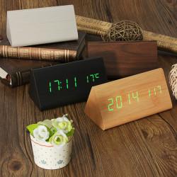 Wooden Digital LED Alarm Clock Triangular Table Desk Display