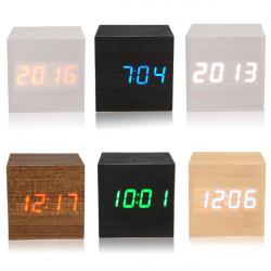 Wooden Wood Digital LED Alarm Clock Voice Control Calendar Temperature