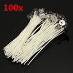 100stk 12cm Wax Candle Cotton Wicks med Metal Sustainers Industrial & Videnskab