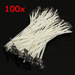100pcs 15cm Wax Candle Cotton Wicks with Metal Sustainers