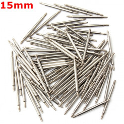 100pcs 15mm Stainless Steel Watch Band Spring Bars Strap Link Pins