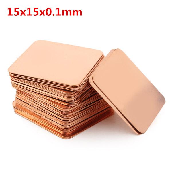 100stk 15x15x0.1mm Pure Kobber Køling Plate Varmeledningsevne Kobber Industrial & Videnskab