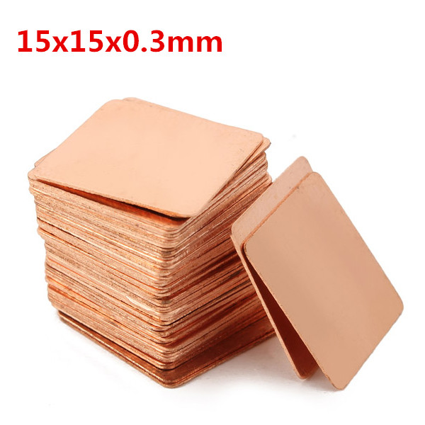 100pcs 15x15x0.3mm Pure Copper Cooling Plate Thermal Conductivity Copper Industrial & Scientific