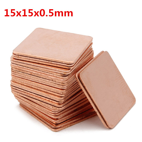 100pcs 15x15x0.5mm Pure Copper Cooling Plate Thermal Conductivity Copper Industrial & Scientific