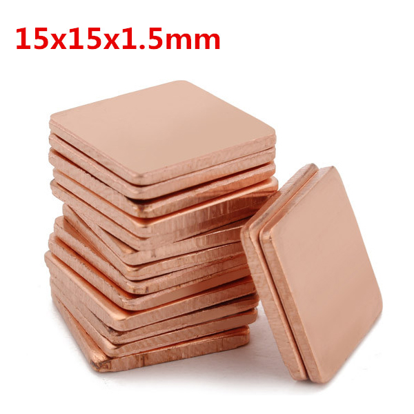 100stk 15x15x1.5mm Pure Kobber Køling Plate Varmeledningsevne Kobber Industrial & Videnskab