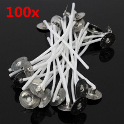 100pcs 8cm Wax Candle Cotton Wicks with Metal Sustainers