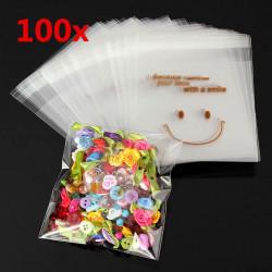 100stk Happy Face Mini Kunststoff selbstklebende Verpackung Taschen