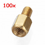 100pcs M3*5+5 Copper Pillars Single-end Screw Bolt Hex Stud Industrial & Scientific
