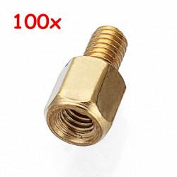 100pcs M3*5+5 Copper Pillars Single-end Screw Bolt Hex Stud