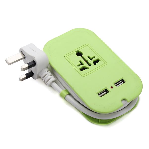 10A 110V-250V AC Elektrisk Laddnings Kontakt 1.25 med 2 USB-portar Industri & Vetenskap