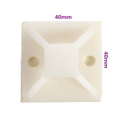 10stk 40 * 40MM Hvid Selvklæbende Kabelbinderbeslag Positioning Pieces