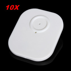 10stk EAS System Tøj Security Hard Tag med Pin 8.2MHz RF White