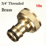 10x 3/4 brass threaded garden hose water tap fittings solid connector Industrial & Scientific