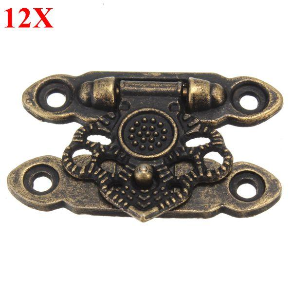 12stk Antikke Dekorative Smykker Gave Wooden Box Hasp Latch Lock med Skrue Industrial & Videnskab