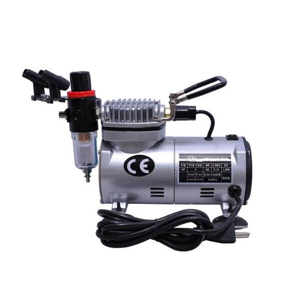1/6 HP Mini Air Compressor Airbrush Set Tattoo Model Painting Tool
