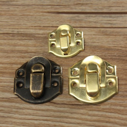 1st Antika Dekorativa Smycke Gåva Trälåda Hasp Latch Lås med Skruv