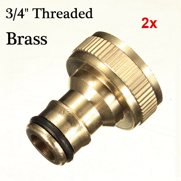 2x 3/4 Brass Threaded Garden Hose Water Tap Fittings Solid Connector Industrial & Scientific