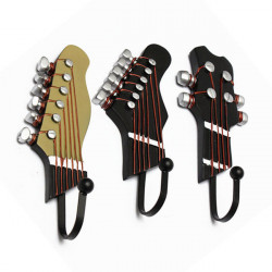 3pcs Guitar Head Wall Mounted Hooks Music Style Decoration