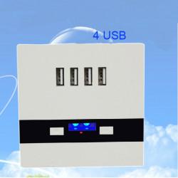4 USB Ladewandsteckdose mit LED leuchtende Lichter Champagner / Weiß