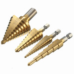 4pcs HSS Titanium Coated Step Drill Bits 1/4 Inch Hex Shank 3/8 Inch Round Shank Industrial & Scientific