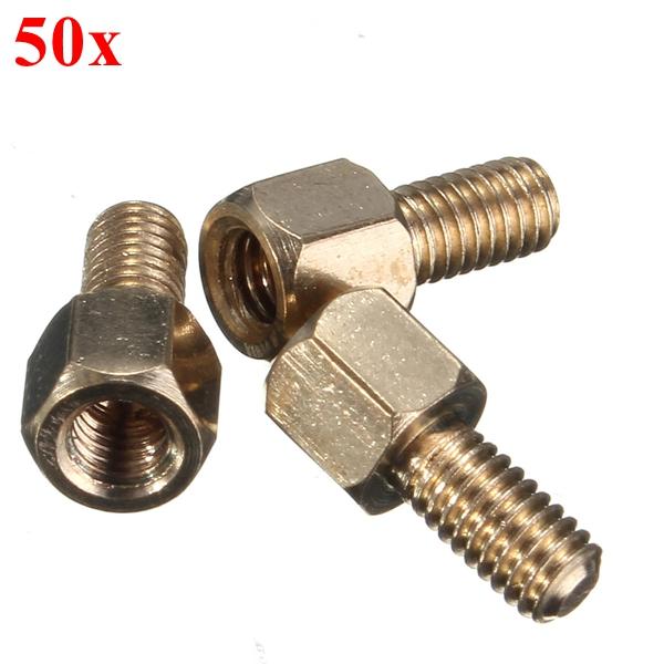 50pcs M3 4+6mm Hex Brass Standoff Spacer Screw Nut For PCB Board Industrial & Scientific