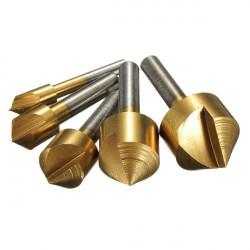5pcs 6mm-19mm Titanium Countersinks Chamfering Cutter Drill Press