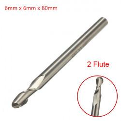 6mmx6mm HSS Straight Shank 2 Flute Ball Nose End Milling Cutter